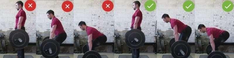 Правильные и неправильные позы при становой тяге