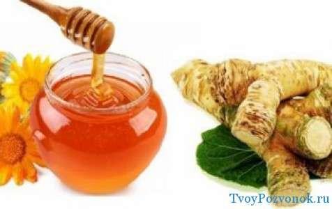 сырье для лекарства - хрен, мед