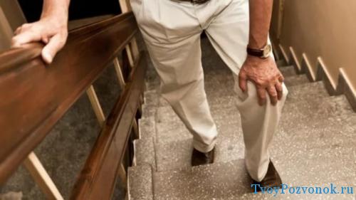 Проявление патологии в области колена