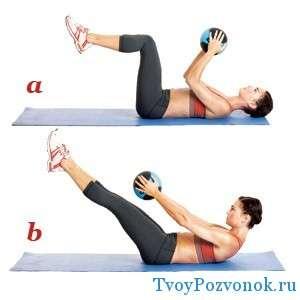 Поднимание ног из положения лежа